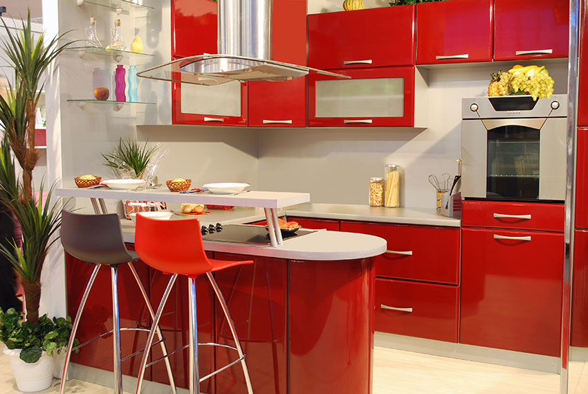 Chic Contemporary Maroon Cabinets Amazing Cabinetry