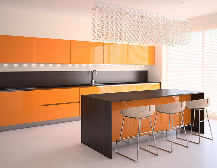 Contemporary Kitchen Atomic Tangerine Cabinets Amazing Cabinetry