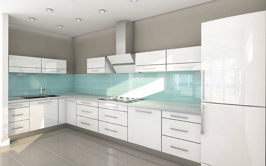 Contemporary Kitchen High Gloss Acrylic White Cabinets With Quartz Counter Top And Green Glass