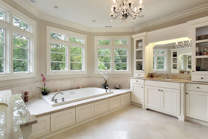 Luxury Master Bath With Drop In Tub And Snow White Cabinets