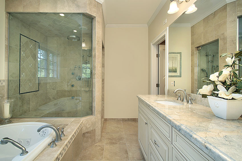 Master bathroom with jaccuzi and walk in shower eggshell cabinets amazing cabinetry mission for Bathroom renovation rochester ny